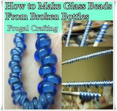 How to Make Glass Beads From Broken Glass Bottles – The Homestead Survival Broken Glass Crafts, Broken Glass Art, Glass Bottle Crafts, Fused Glass Art, Stained Glass Art, Bottle Art, Glass Bead Crafts, Cutting Glass Bottles, Bottle Jewelry