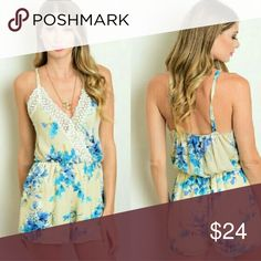 🌺BUY2 GET1 FREE🌺TAN FLORAL TRIM ROMPER THIS ROMPER IS A SIMPLE MUST HAVE. Floral print romper with wrapped bodice with trimmed crochet detail. Shorts lined,  top isn't. Great for that tropical getaway or for casual outings. Chiffon material.   SIZE : MEDIUM OR LARGE.  •Modeling size Medium •   ❌NO OFFERS ACCEPTED ON THIS ITEM❌   Shorts