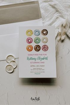 Donut Birthday Party Invitation Template - #donutbirthday #donutparty #donut #doughnut #invite #invitation #birthday #watercolordonuts #donutmissthefun #donutgrowup #template #printable #editable Birthday Invitation Templates, Birthday Party Invitations, Birthday Party Themes, Donut Birthday Parties, Donut Party, Little Girl Birthday, Doughnut, Invite, Place Card Holders