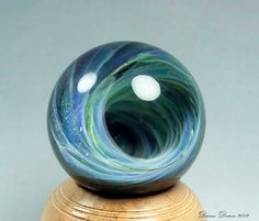 Lampwork Glass Vortex Marble with Hand Turned by fusionillusionartglass