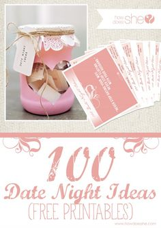 Exclusive FREE Printables: 100 Date Night Ideas Under $30! howdoesshe.com