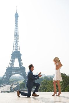 Staci contacted us to book a photo shoot in Paris. Little did she know that Joey had a ring in his pocket and that he wanted to propose! #parisphotographer #parisengagement #eiffeltower www.theparisphotographer.com