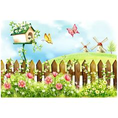 Fence Scenery Kids' Room Wall Mural, By - Childrens Wall Decor Hydrangea Landscaping, Landscaping Edging, Landscaping Around Trees, Building Photography, Fabric Photography, Murals For Kids, Cartoon Wall, Spring Landscape, Spring Painting