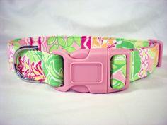 Custom Dog Collar Lilly Pulitzer Pink Green Orange Flowers Fabric from PinkysPetGear on Etsy. $17.99, via Etsy.