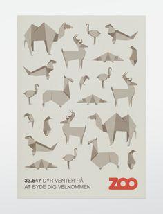 Origami animals poster - Copenhagen Zoo