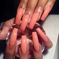 Orange long nails