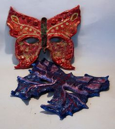 Butterfly masks, made from crayola model magic