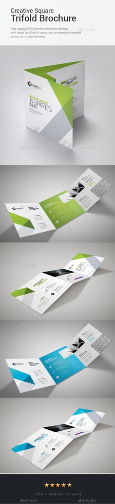 Corporate Square Trifold Brochure Template PSD, Vector EPS