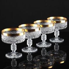4 Vintage Sektschalen Kristall Gläser Krirstallgläser Waffel Rauten Goldrand K34