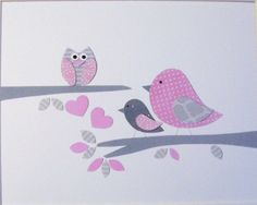 Nursery Art, Baby Girl Decor, Children's Room Decor, Kids Wall Art, Bird, Owl, Pink, Gray, Ready and Waiting, 8x10 Print. $14.00, via Etsy.