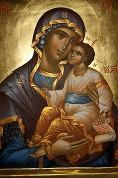 The Blessed Mother of God Religious Pictures, Religious Icons, Religious Art, Byzantine Icons, Byzantine Art, Miséricorde Divine, Greek Icons, Images Of Mary, Blessed Mother Mary