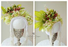 Ooak Spring Hydrangea New Born Floral Bonnet