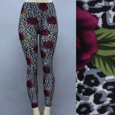 ***Final Markdown*** Floral Spots Leggings Small Rose and Leopard Print Leggings Pants Leggings