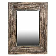 "Reclaimed wood wall mirror with weathered details.       Product:  Wall mirror    Construction Material:  Reclaimed wood and mirrored glass    Color:  Distressed brown   Dimensions: 39"" H x 30.31"" W x 3.94"" D      Cleaning and Care:  Wipe clean with damp cloth"