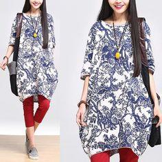 Women Cotton linen loose fitting print blouse