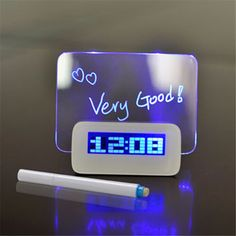 Azul Fluorescente LED Reloj Despertador Digital con Message Board USB Hub de 4 Puertos