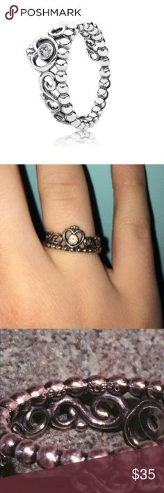 💕PANDORA PRINCESS RING Given to me as a present and I have not worn it in years. Great condition, it is authentic (stamp shown in the last picture). Open to offers! Pandora Jewelry Rings