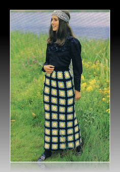1970s Maxi Skirt Crochet Pattern in Granny Squares PDF (T141) Vintage