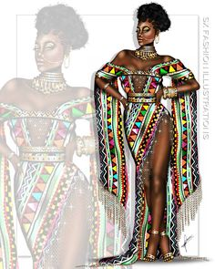 By SX Fashion Illustrations African Inspired Fashion, African Print Fashion, Africa Fashion, Fashion Design Drawings, Fashion Sketches, Fashion Illustration Dresses, Fashion Illustrations, Fashion Art, Fashion Outfits