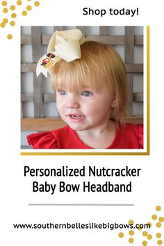A beautiful Christmas bow headband for baby girl that is personalized for nutcracker enthusiasts. Makes a great Christmas gift for baby girl! It features an embroidered nutcracker with the initial letter of your choice. Available in two sizes and a variety of colors it is the perfect holiday accessory. It has been beautifully crafted out of quality ribbon that is slightly twisted for that classic boutique bow shape that won't lie too flat when worn. Baby Girl Headbands, Elastic Headbands, Baby Bows, Christmas Hair Bows, Baby Christmas Gifts, Christmas Accessories, Baby Monogram, Boutique Bows, Cheer Bows