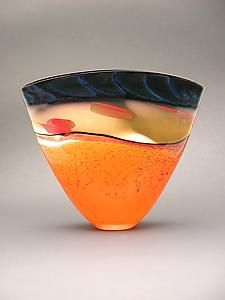 """Desert Series Fan Vase""    Art Glass Vase    Created by Steven Main        Handblown glass with color stacking, cane pick-up, and overlays. Each piece is unique, and will vary slightly.                                        Dimensions: 10.0in H x 10.5in W x 4.5in D."