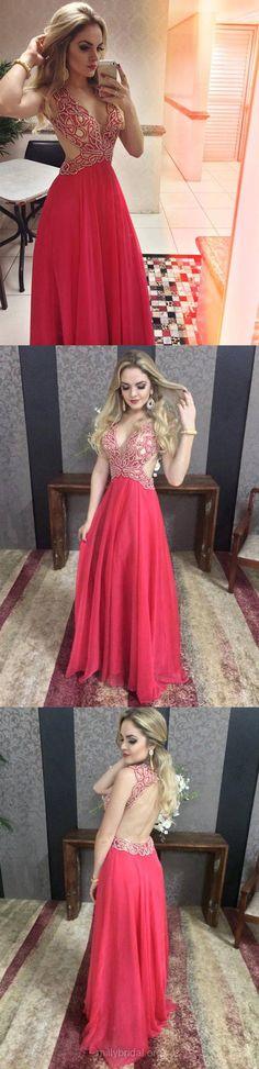 Red Prom Dresses Long, Ladies Empire Prom Dresses V-neck, 2018 Prom Dresses Chiffon Tulle, Beading Prom Dresses Open Back Modest