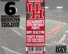 This customizable Houston Cougars invitation measures 2.75 inches x 7.75 inches, and can be used for a birthday party along with other events