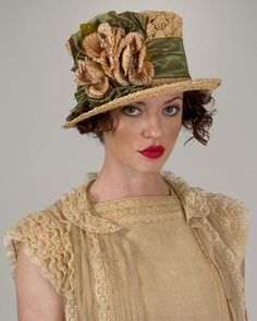 Top Hat, tea with olive, crochet raffia hat with taffeta ribbon & vintage flowers