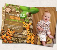 Printable jungle birthday invitation photo invite boys first safari birthday party invitation tiger zebra giraffe jungle monkey digital printable filmwisefo