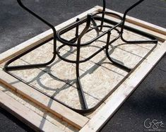 Salvage a patio table by building a new top for it with tile and mosaic tile by Q-Schmitz featured on Tile Patio Table, Patio Tiles, Outdoor Tiles, Wood Patio, Patio Stone, Flagstone Patio, Concrete Patio, Garden Table, Tile Top Tables