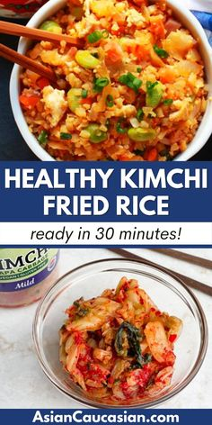 This super quick and healthy Cauliflower Kimchi Fried Rice will have you asking for extra helpings! It's made with riced cauliflower instead of traditional rice (but you'll never know the difference). Check out my substitutions to make this healthy Asian side dish or main course vegetarian and gluten free! Asian Dinner Recipes, Korean Recipes, Korean Food, Asian Side Dishes, Kimchi Fried Rice, Riced Cauliflower, Vegetarian Dinners, Rice Recipes, Dinner Ideas