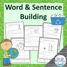 Earth Day Cut-and-Paste Word and Sentence Building Worksheets Sentence Building, Vocabulary Building, Vocabulary Words, Writing Activities, Classroom Activities, Teaching Resources, Positive Behavior Management, Touch And Feel Book, Special Education Behavior