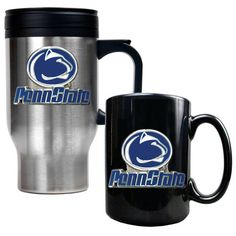 Penn State Nittany Lions Stainless Steel Travel Mug and Black Ceramic Mug Set