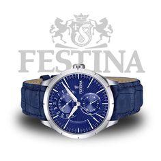 #Festina Herrenuhr F16573/7 – blaue Armbanduhr mit Datumskomplikation, Mineralglas und blauem Lederarmband