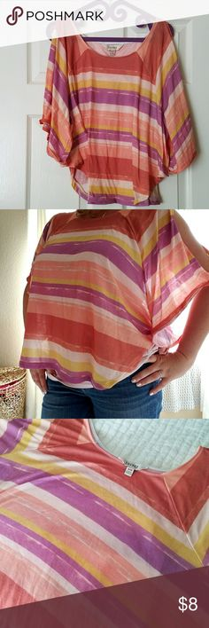 "Cute striped cold-shoulder top Perfect for summer! Striped cold-shoulder top in vibrant fun colors fits loosely, almost like a poncho.  Approx. 20"" in length, 52"" bust. 100% polyester, machine wash. Decree Tops Tees - Short Sleeve"