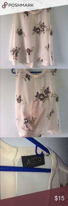 Flowy white tank top Worn once, but in brand new condition. It's see through, but super cute with jeans or leggings Astr Tops Tank Tops