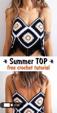 Summer Top crochet tutorial - Genia S. - Summer Top crochet tutorial Learn how to crochet this gorgeous top for summer. T-shirt Au Crochet, Mode Crochet, Crochet Shirt, Crochet Woman, Crochet Crafts, Diy Crochet Clothes, Crochet Ideas, Crochet Halter Tops, Bikini Crochet