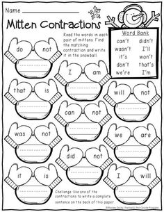 "Includes ""mitten contractions"" January (winter) Print and Do- grade no prep math and literacy practice 1st Grade Writing, First Grade Reading, Student Teaching, Teaching Reading, Literacy Activities, 1st Grade Activities, Winter Activities, Math Games, Grade 1"