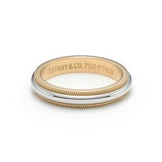 Tiffany & Co. | Item | Milgrain wedding band ring in platinum and 18k gold, 3mm wide. | United States