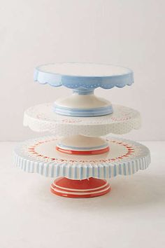 Scalloped Celebration Cake Stand - Gaaaaaa!  Love that little blue one!!