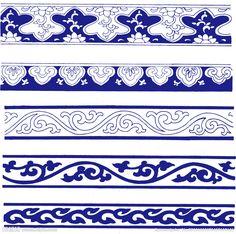 青花瓷装饰花纹 Border Pattern, Border Design, Pattern Design, Chinese Element, Chinese Art, Chinese Patterns, Tibetan Art, Islamic Art, Chinoiserie