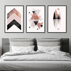 Set of 3 Downloadable Geometric Prints in Blush Pink Black Grey Rose Gold Minimalist Mountains Scandinavian Modern Poster Trending Now Art THESE ARE INSTANT DOWNLOADS – Your files will be available instantly after purchase. Please note that this is a digital download ONLY, no