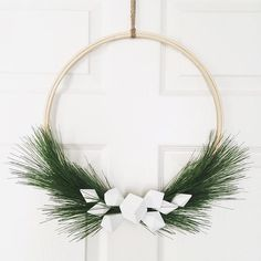 ⭐️IG @vee.zel  | Pinterest inspired |Scandinavian style | DIY wreath | Sewing hoop | Holiday wreath | Christmas decor | Christmas wreath | Winter wreath | Modern Christmas decor