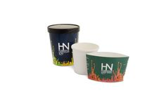 Custom printed compostable containers for Harvey Nichols. Instead of printing on the container they wanted something more flexible so we printed sleeves for them instead so they can choose the sleeve depending on the porridge flavour served.
