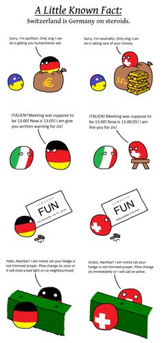 Countryballs Switzerland is Germany on steroids Funny Images, Funny Pictures, Comic Panels, History Memes, Funny Pins, Funny Stuff, Random Stuff, Fun Comics, Funny Jokes