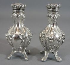 Small Pair Antique Art Nouveau Repousse Sterling Silver Salt & Pepper Shakers NR