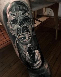Tattoo artist Damon Holleis color and black and grey portrait tattoo realism Sydney Australia Insane Tattoos, Badass Tattoos, Hot Tattoos, Tattoos For Guys, Clown Tattoo, Tattoos Skull, Body Art Tattoos, Sleeve Tattoos, Horror Movie Tattoos