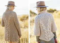 Creative Twist and Cable Cardigan Free Knitting Pattern 1 Chunky Knitting Patterns, Knit Patterns, Free Knitting, Knitting Needles, Chunky Cardigan, Crochet Cardigan Pattern, Chunky Yarn, Free Pattern, Dutch