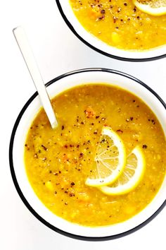 This Lemony Lentil Soup recipe is the BEST! It's full of healthy, fresh and delicious flavors, it's naturally vegan and gluten-free, and so delicious.