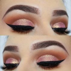 Rose Gold Cut Crease Idea ★ Pick the best rose gold makeup look for brown eyes. Natural makeup will work for prom, glitter eyeshadow and lipstick is Rose Gold Makeup Looks, Gold Eye Makeup, Eye Makeup Art, Pink Makeup, Makeup For Brown Eyes, Smokey Eye Makeup, Eyeshadow Makeup, Eyeshadow Palette, Eyeliner